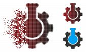 Chemical Industry Icon In Dispersed, Pixelated Halftone And Undamaged Solid Versions. Particles Are  poster