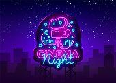 Cinema Night Neon Logo Vector. Movie Night Neon Sign, Design Template, Modern Trend Design, Night Ne poster
