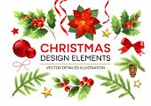 Christmas Design Elements Set. Poinsettia, Fir Branch, Mistletoe Twigs With Berries, Pinecone Design poster