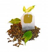 picture of tea bag  - Tea bag with leaves isolated on white background - JPG