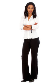 stock photo of dark-skin  - confident african business woman standing upwearing elegant clothes  - JPG