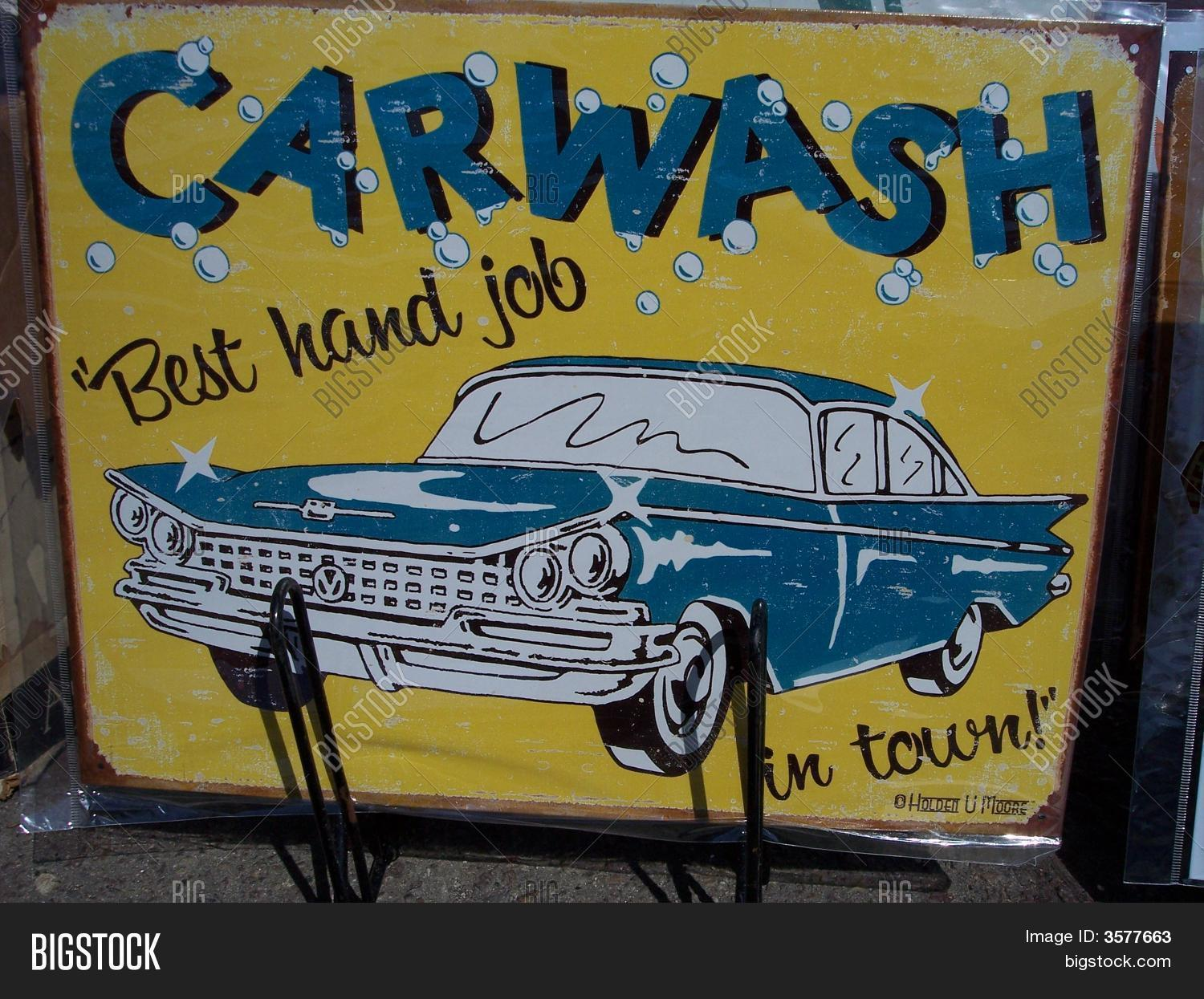 classic old 1959 car wash sign hand job