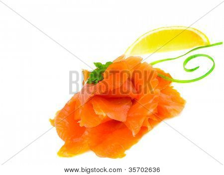 slices of trout. isolation on white