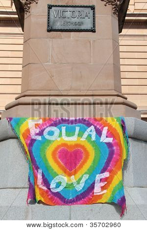 Brisbane, Qld Australia - August 11 : Equal Love Sign At Protest On Queen Victoria Statue On August