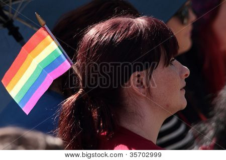 Brisbane, Qld Australia - August 11 : Unidentified Woman Supporting Gay Flag On August 11 2012  In B