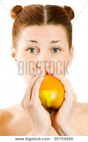 woman with fruit in hands. Isolation on the white