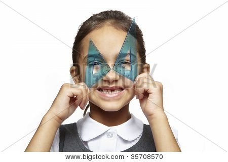 School Girl With Blue Set Squares