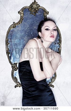 Beautiful Woman Beside Mirror