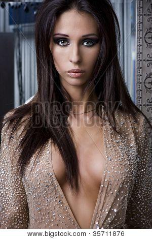 Luxury Woman In Sexy Dress.