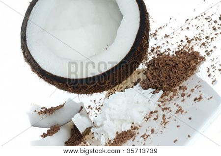 Coco pulp. Isolation on the white