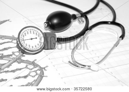 Tablets on a background of medical diagrams