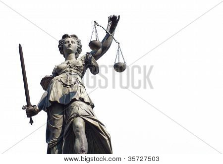 Justitia Isolated On A White Background
