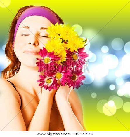 young woman face with flowers