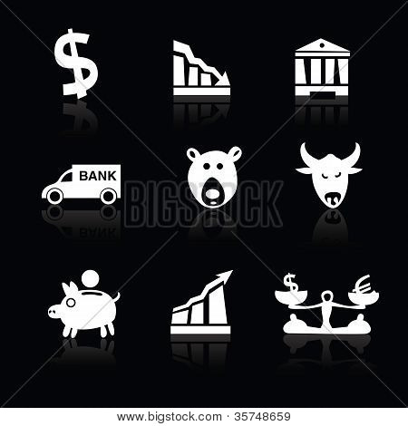 Banking Icons Hand Drawn Part 1 White On Black