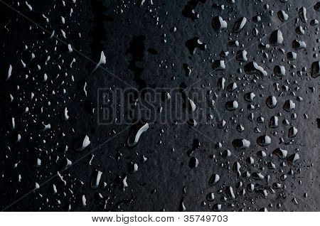 Water drops on metal surface