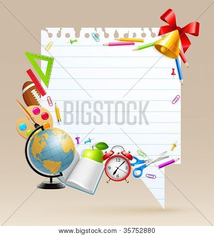 Back to school bubble for speech with place for text and stationery. Check my portfolio for vector version.