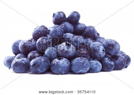 picture of a wet pile of blueberry fruits on white background