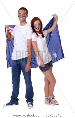 Happy couple with Australian flags on their cheeks, isolated