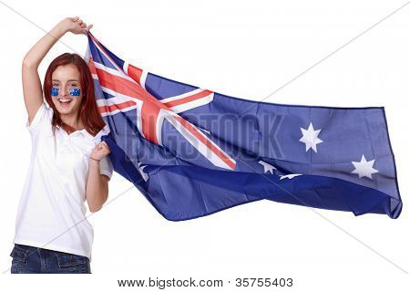 Happy female with Australian flag and small flags on his cheeks, isolated