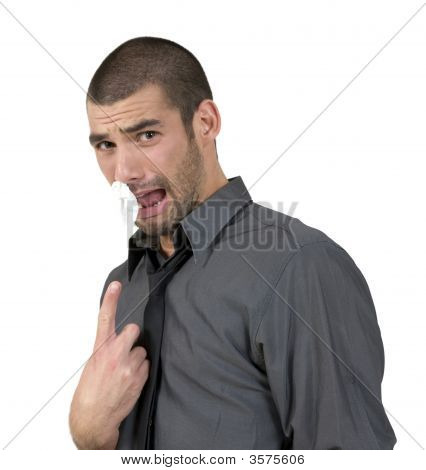 Person Pointing Towards Tissue Paper In His Nose