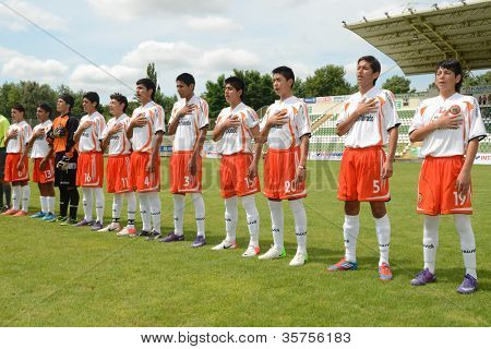 KAPOSVAR, HUNGARY - JULY 21: Chilean players at the VIII. Youth Football Festival U16 Final Munincipal Pozo Almonte (CHI) vs. FC Makedonija (MKD) July 21, 2012 in Kaposvar, Hungary