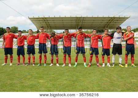 KAPOSVAR, HUNGARY - JULY 21: Macedon players at the VIII. Youth Football Festival U16 Final Munincipal Pozo Almonte (CHI) vs. FC Makedonija (MKD) July 21, 2012 in Kaposvar, Hungary