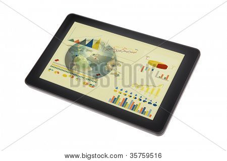 Touch screen device with  graph and earth (Elements of this image furnished by NASA)