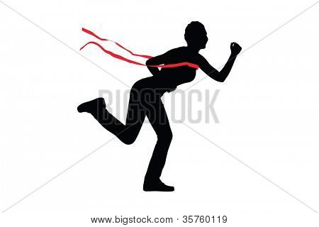Silhouette of a female runner at finish line isolated on white background