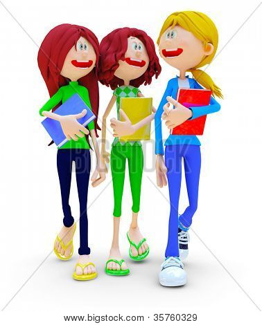 3D female students talking - isolated over a white background