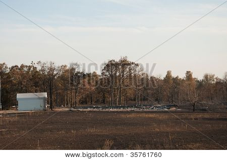 CREEK COUNTY, OKLAHOMA - AUGUST 6 2012: mobile home burned to ground in Creek County wildfires near highway 33 on August 6, 2012 in Creek County, Oklahoma, USA