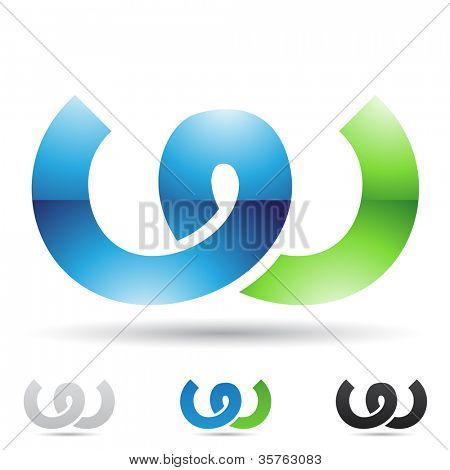 Vector illustration of abstract icons based on the letter W