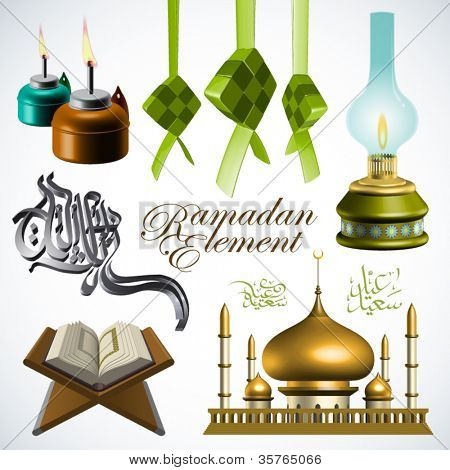 Vector 3D Ramadan Element Translation of Jawi Text: Eid Mubarak, May you Enjoy a Blessed Festival