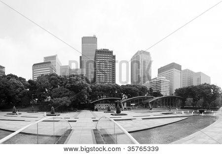 Futuristic photo of Tokyo - panoramic shot of skyline in Shinjuku in black and white, Japan
