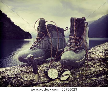 Hiking boots with compass on tree trunk near lake