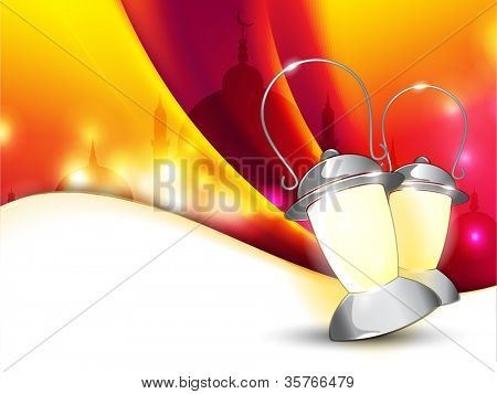Lantern or lamp with lights on colorful wave  background for Ramadan Kareem and other events. EPS 10.