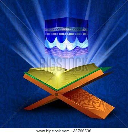 Beautiful View of Qaba or Kaaba Sharif on shiny rays background with open holy book Quran or Kuran Sharif. EPS 10.