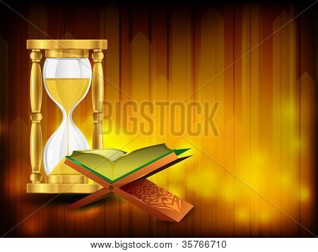 Open holy book Quran Sharif or Kuran Sharif with hour glass. EPS 10.
