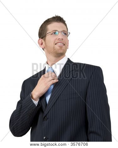 Businessman Holding His Tie