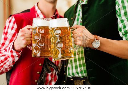 Two young men in traditional Bavarian Tracht in restaurant or pub with beer and beer stein