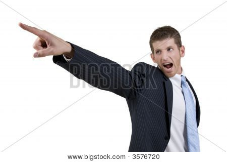 Businessman Wearing A Suit Gesturing A Warning  Sign