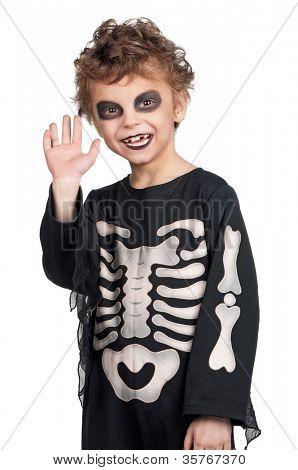 Retrato de menino, vestindo o traje de halloween no fundo branco
