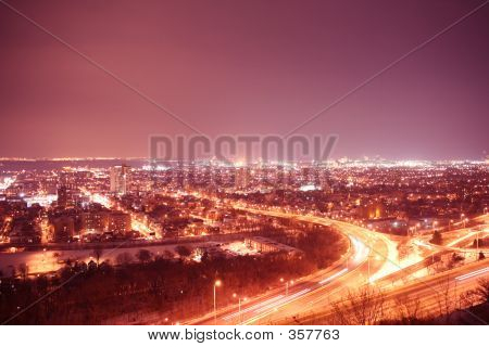City Lights With Purple Sky At Night Time