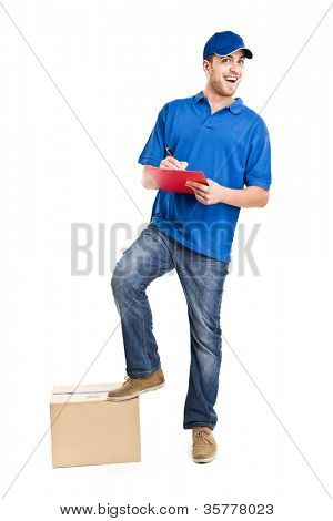 Full length portrait of a funny deliverer