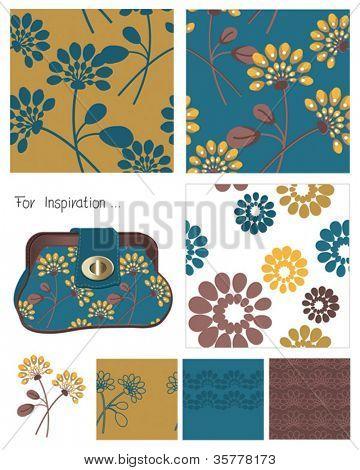 Padrões de vetores sem emenda de flor e ícone.  Use para criar sacos de tecido ou papel digital.