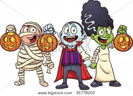 Cartoon Halloween kids trick or treating. Vector illustration with simple gradients. Each in a separate layer for easy editing.
