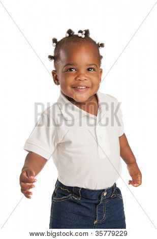 Three Years Old Adorable African American Girl with Braided Hair Wave Hand on White Background