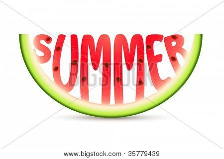 illustration of summer word carved in watermelon