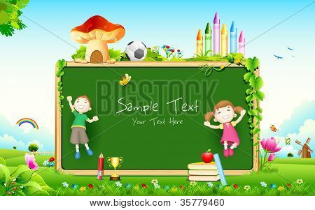 illustration of school kid playing in front of blank board
