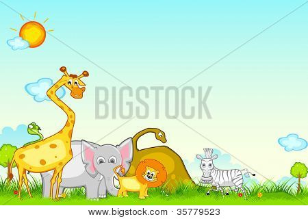 illustration of different animal in jungle safari