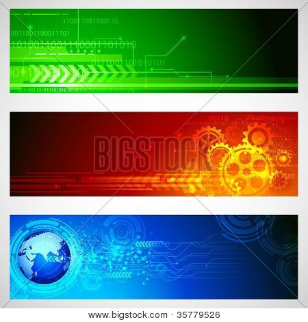 illustration of set of technology banner for designing